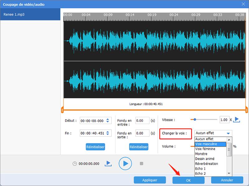 ajouter l'effet spécial dans l'option changer la voixchanger la voix