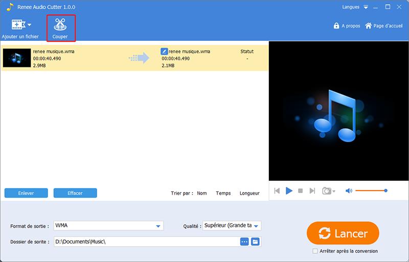 couper le fichier au format wma avec Renee Audio Tools