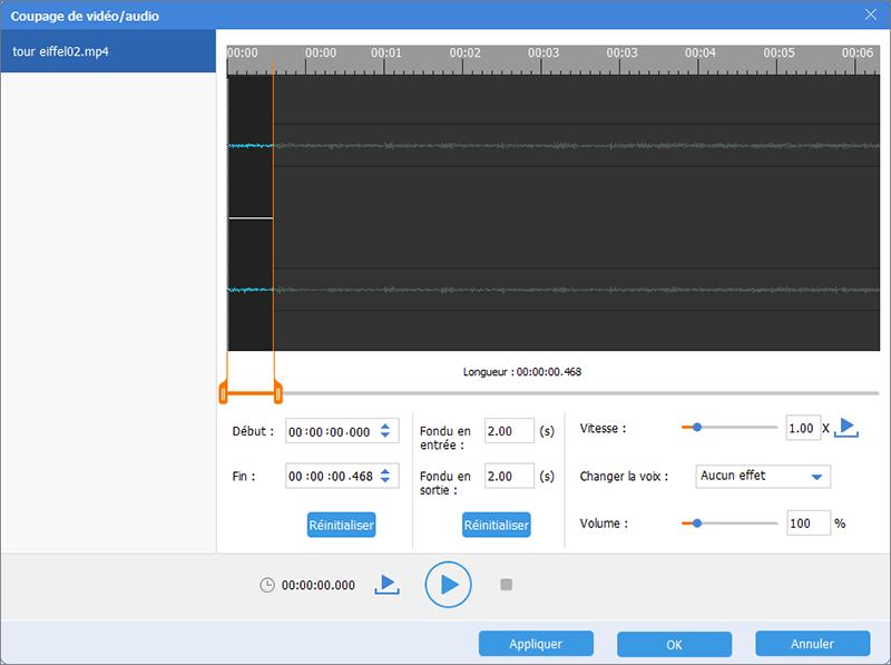 couper une partie d'une vidéo MP4 pour extraire le son d'un mp4