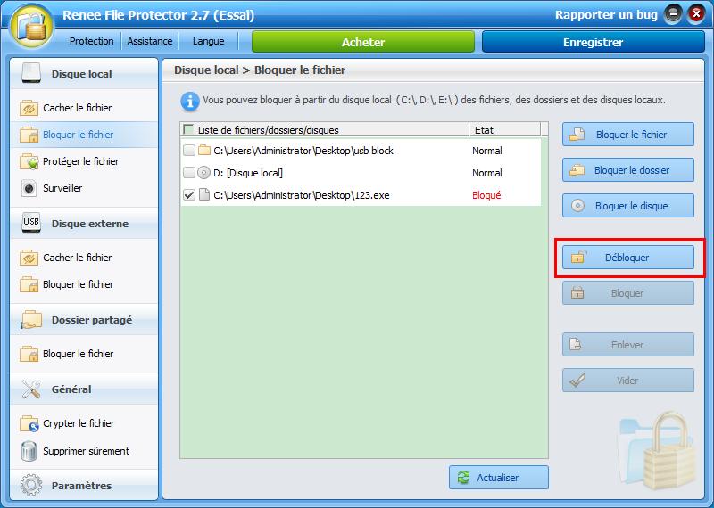 débloquer le fichier avec Renee File Protector