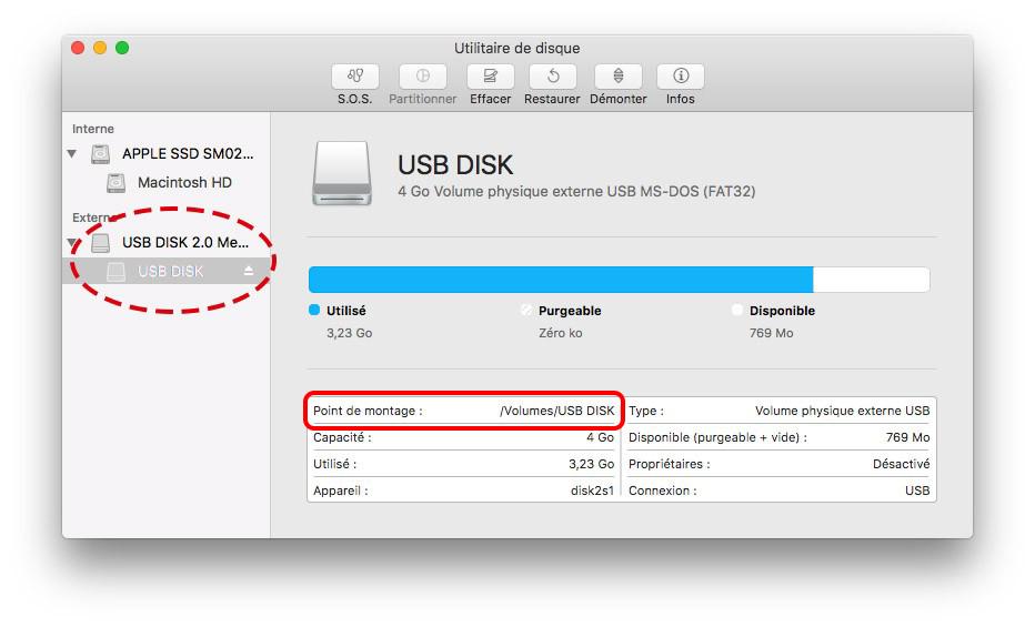 vérifier le nom du disque dur externe sous Mac