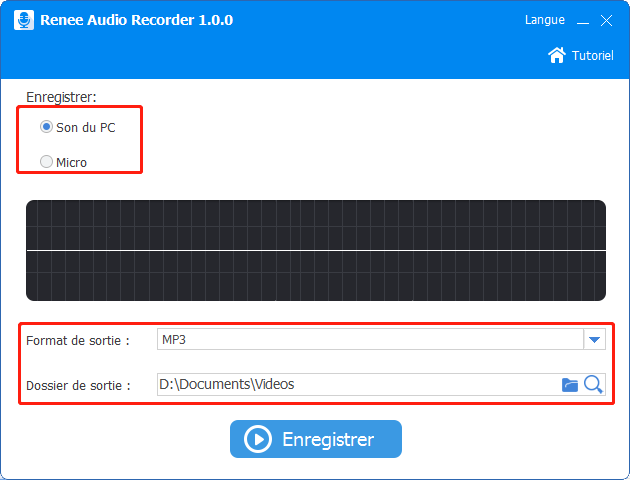 paramètres de l'enregistrement pour extraire le son d'une vidéo