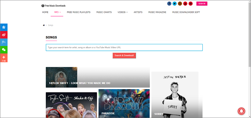 obtenir la musique sur le site Free music download