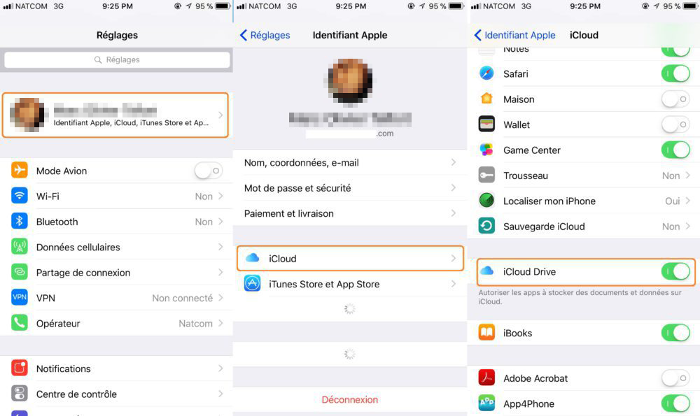ouvrir iCloud Drive sur iPhone