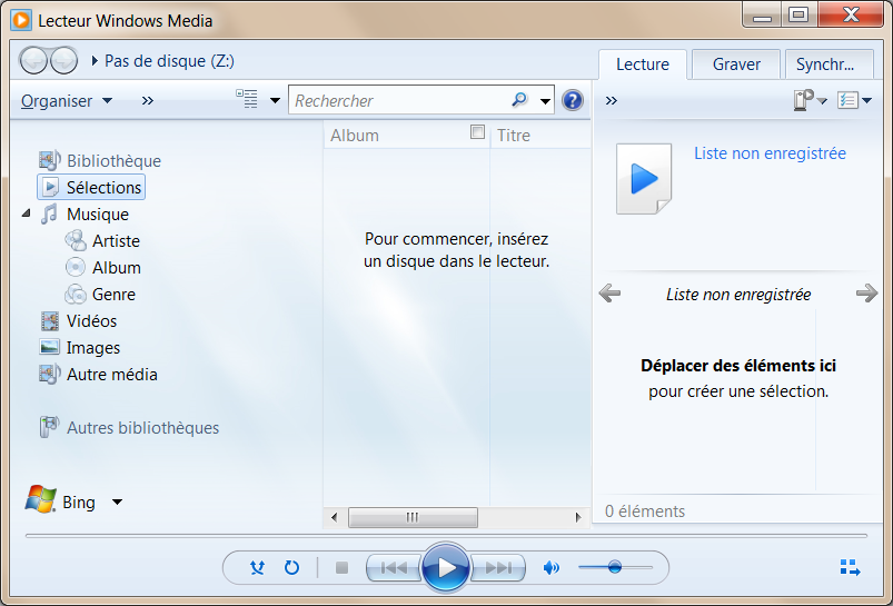 ouvrir le lecteur Windows Media