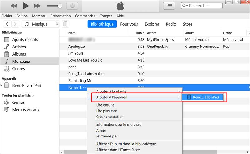 mettre de la musique dans la bibliothèque vers iPad