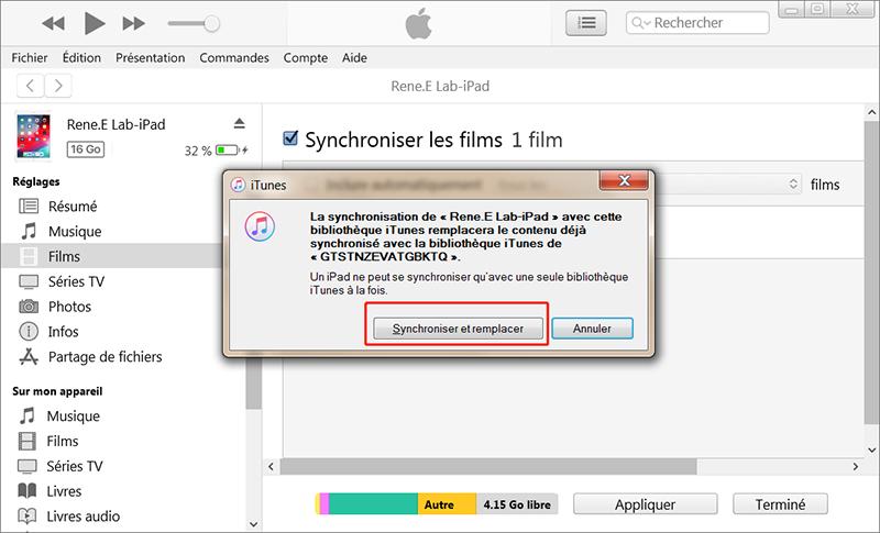 cliquer sur Synchroniser et remplacer pour mettre la vidéo sur iPad
