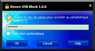 taper le mot de passe pour accéder au périphérique USB