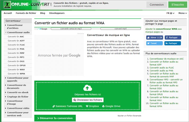convertir mp3 en wma sur le site Onlineconvert.com