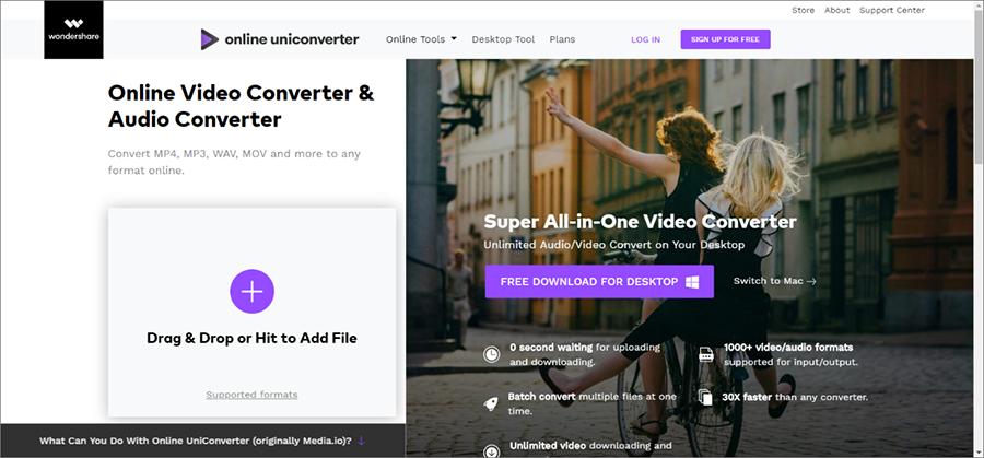 ouvrir le site Online uniconverter