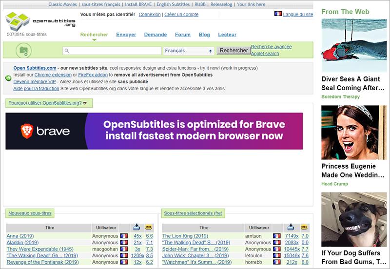 un site de sous-titres Opensubtitles