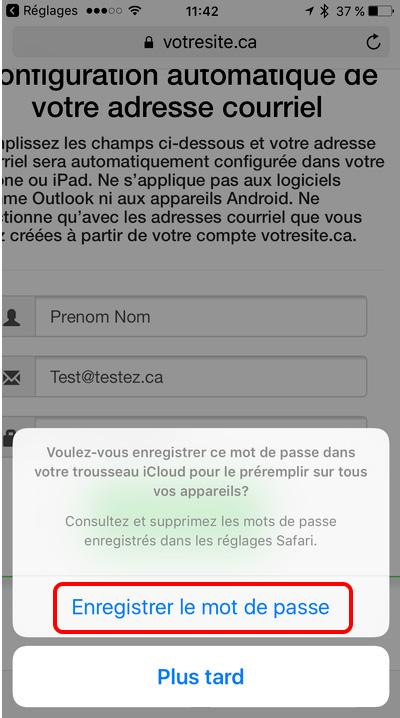 enregistrer le mot de passe sur iPhone