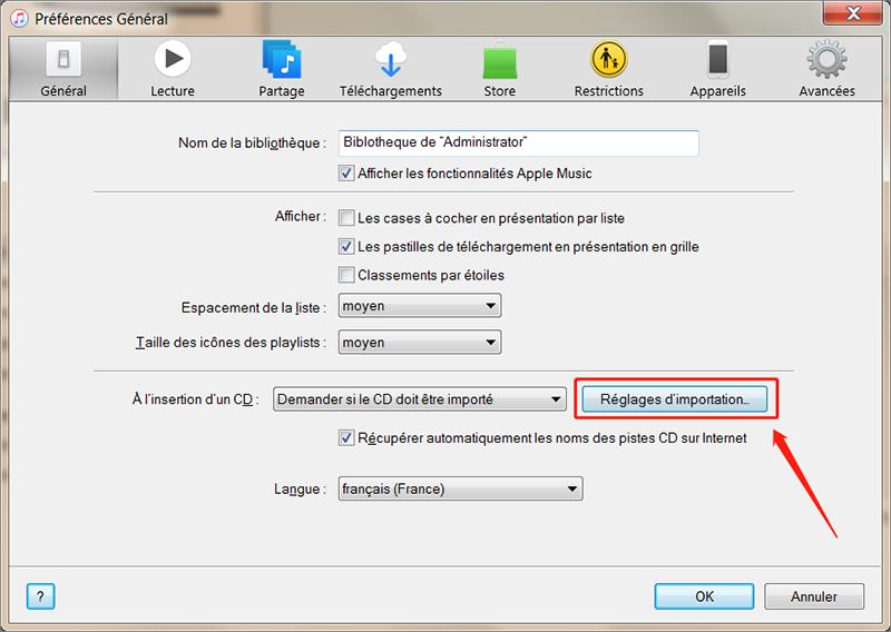 configurer le réglage pour régler le problème d'impossible de transférer la musique avec iTunes vers iPhone