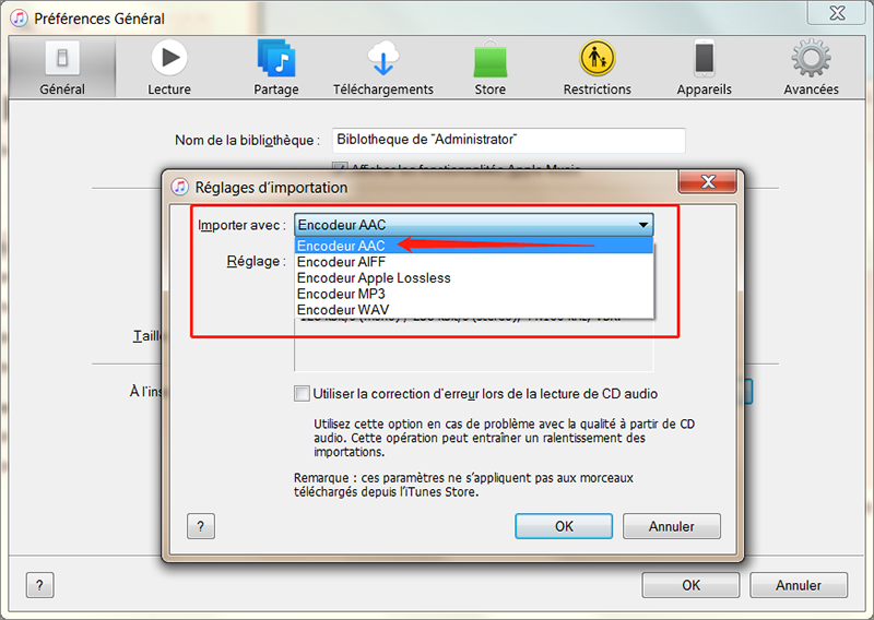 l'encodeur AAC de iTunes