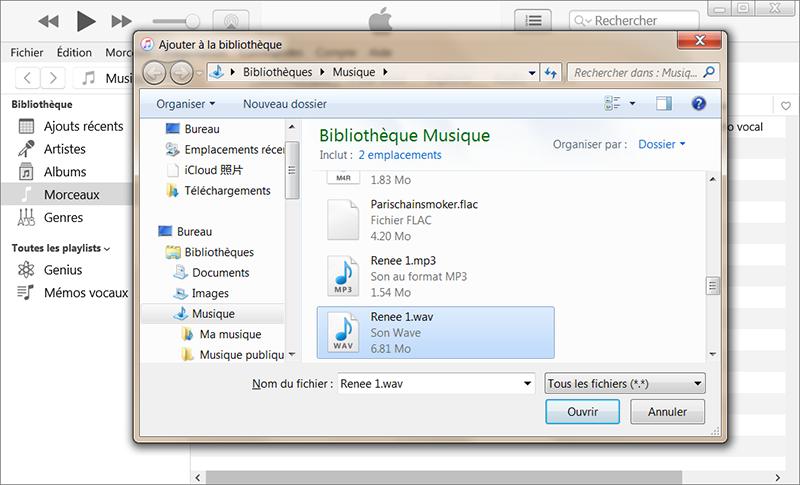 ouvrir le fichier audio WAV