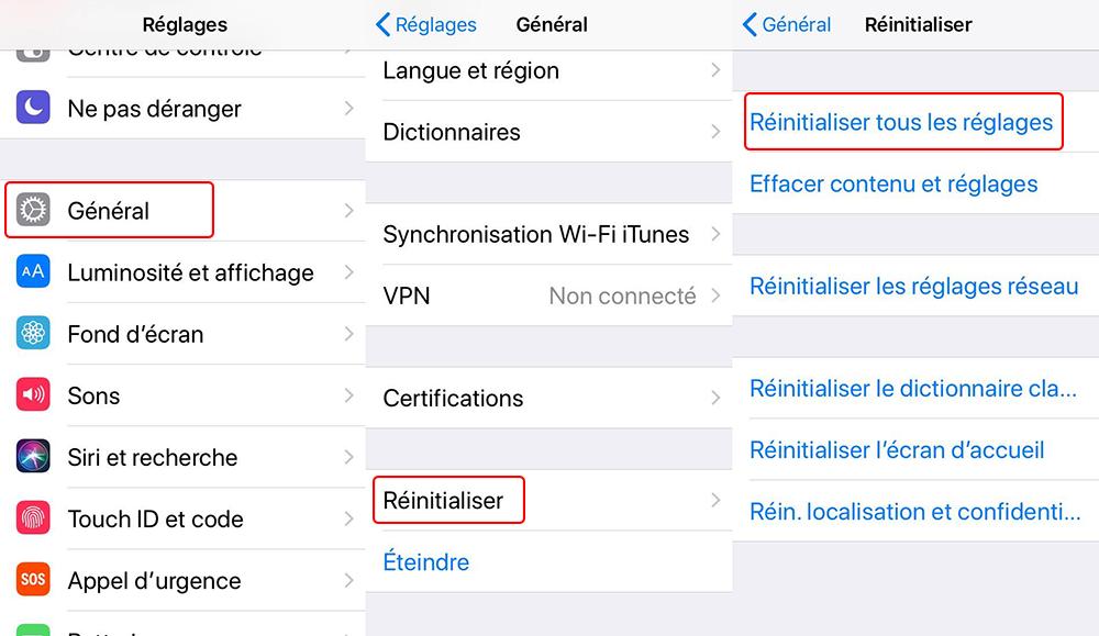 réinitialiser les réglages d'iPhone
