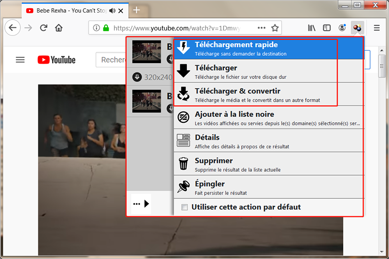 cliquer sur l'icône d'extension pour télécharger la vidéo cible