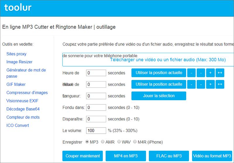 couper une partie d'une musique avec Toolur MP3 cutter