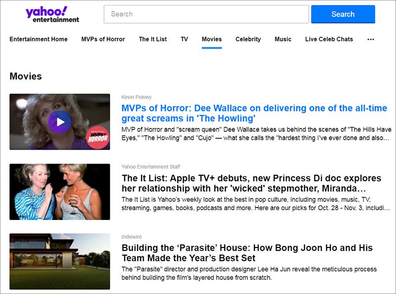 obtenir les vidéos sur le site Yahoo movie