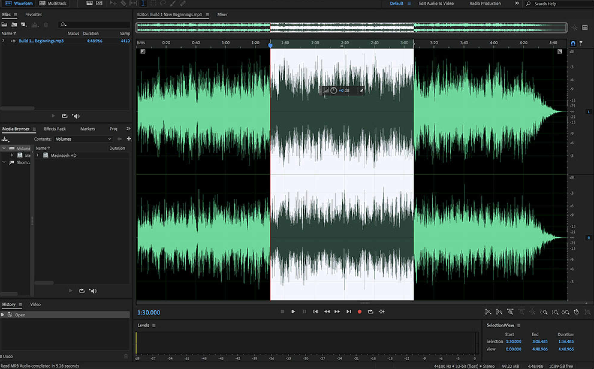 Couper un fichier audio avec AdobeAuditionCC