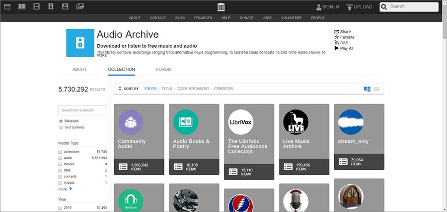 obtenir les ressources musicales gratuites sur le site Audioarchive