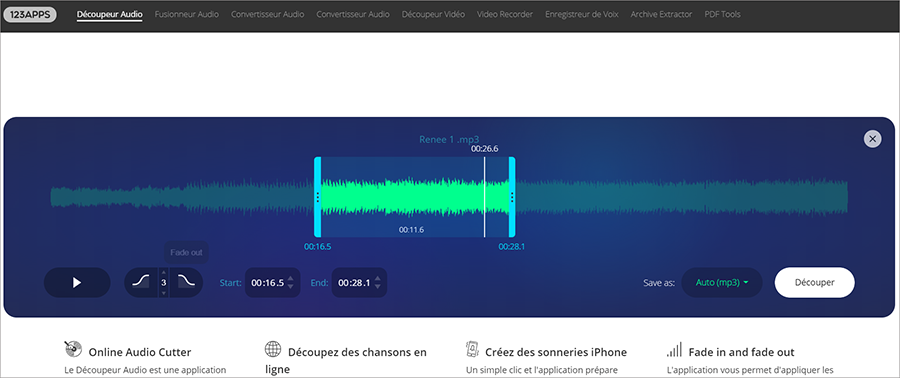 Découpeur audio en ligne – AudioCutter