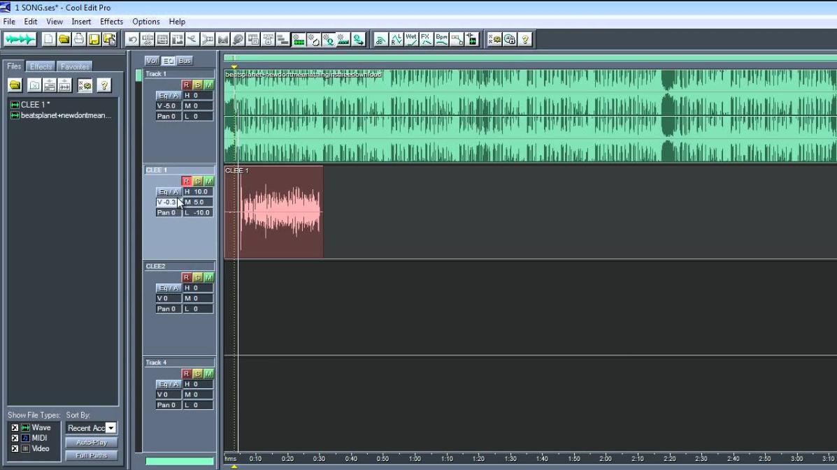 Couper des chansons avec Cool Edit Pro