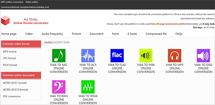 convertir m4a en wav sur le site Alltoall en ligne