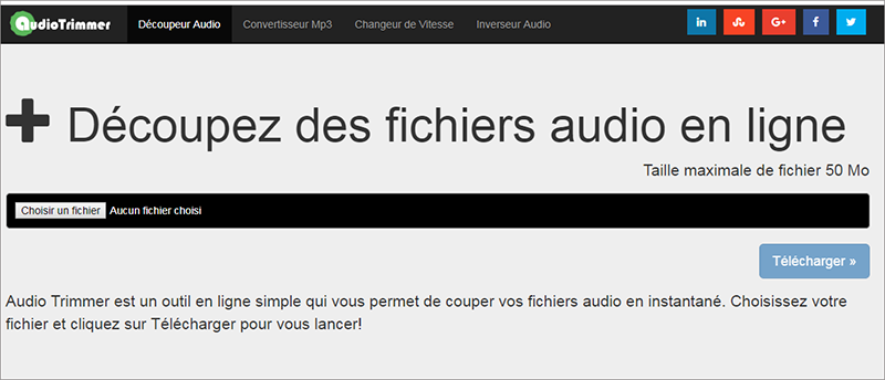 éditer le fichier audio sur le site de montage audio en ligne Audio Trimmer