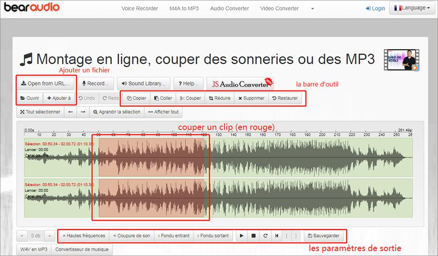 couper une musique avec Bearaudio convertisseur en ligne
