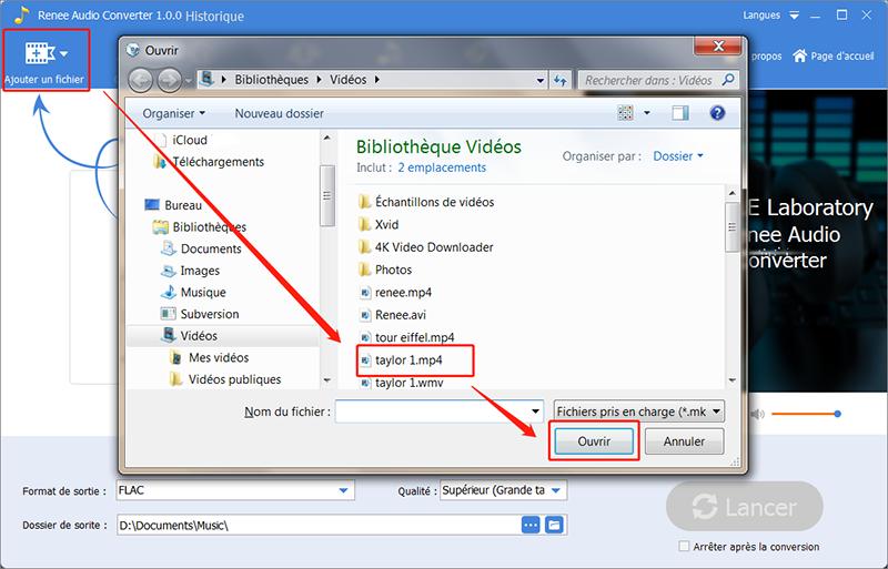 ajouter la vidéo à convertir pour extraire l'audio mp3