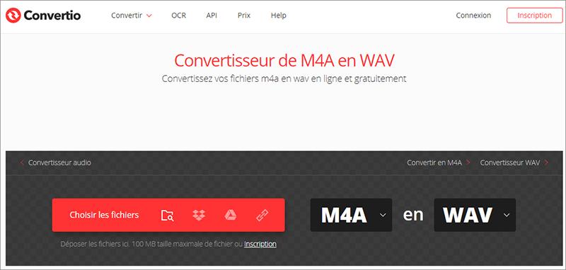 m4a to wav avec Convertio