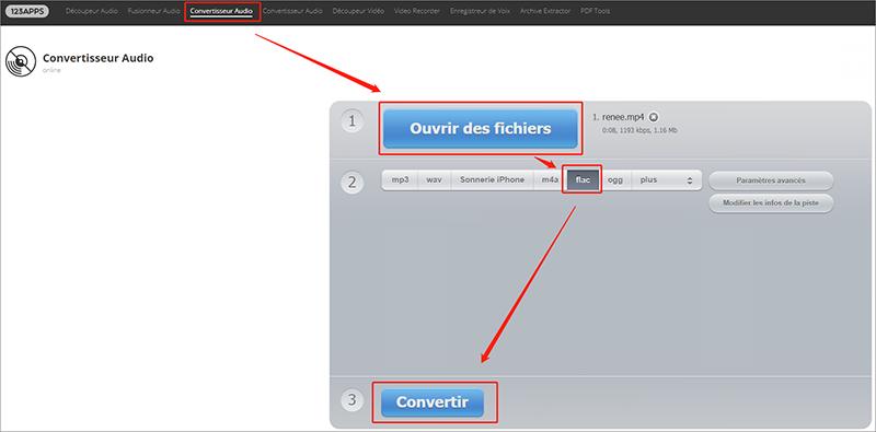 convertir la vidéo YouTube en FLAC en ligne sur Onlineaudioconverter