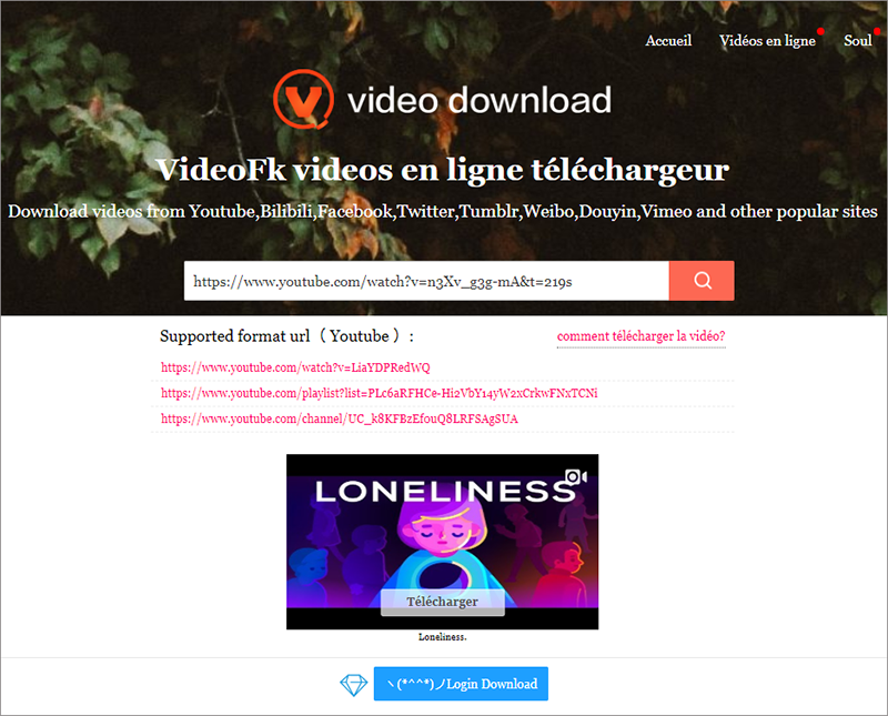 convertir la vidéo YouTube en FLAC en ligne sur Videofk
