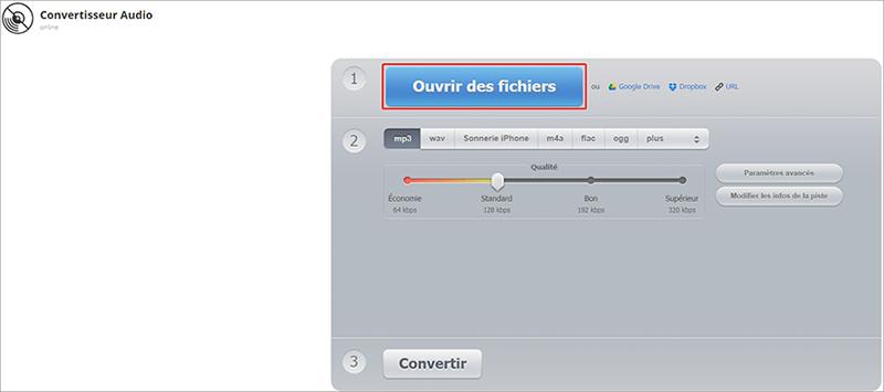 ajouter un fichier WAV sur le site Audioconverter