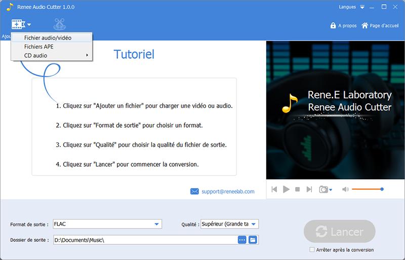 ajouter le fichier MP3 à couper sur Renee Audio Tools