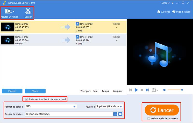 couper un fichier MP3 et fusioner les fichiers audio