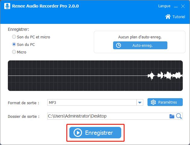 cliquer sur Enregistrer pour commencer à enregistrer l'audio
