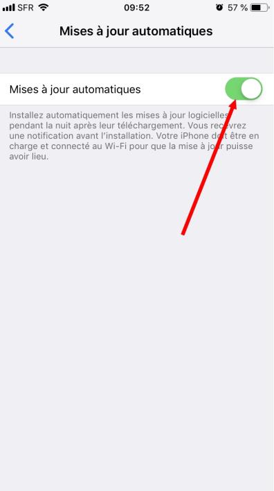 activer les mises à jour automatiques sur iPhone