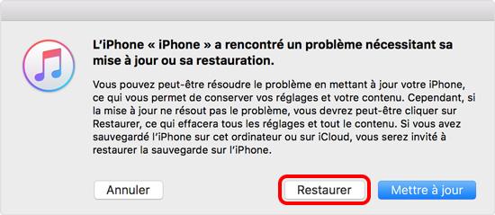 restaurer iPhone sur iTunes