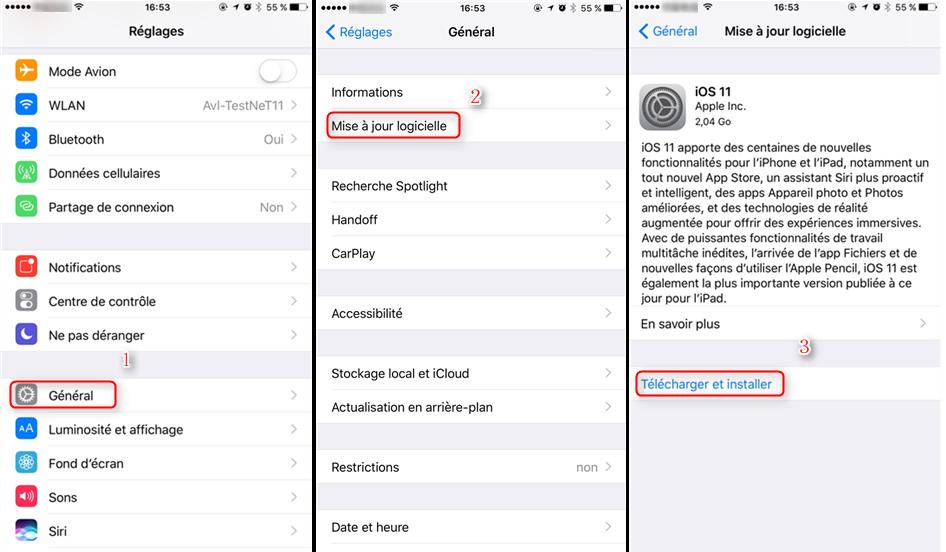 télécharger et installer la dernière version du système iOS
