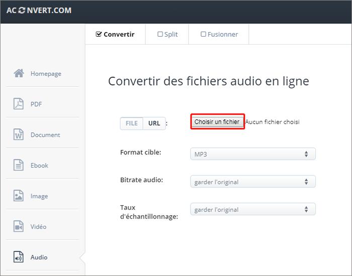 ajouter le fichier à convertir sur le site Aconvert