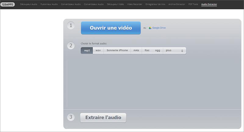 ouvrir le site Audioextractor pour extraire le son d'une vidéo en ligne