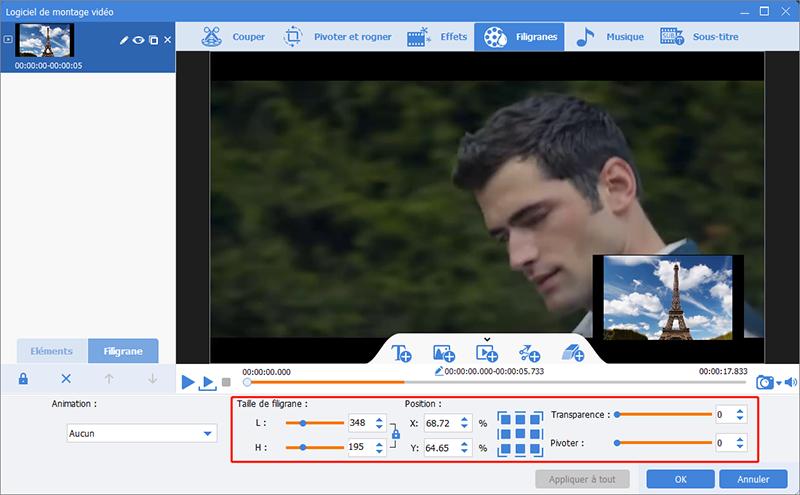 configurer les paramètres de filigrane en vidéo