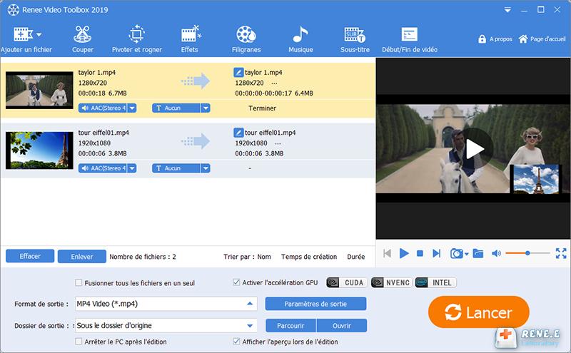 charger deux fichiers vidéo qui doivent être fusionnés