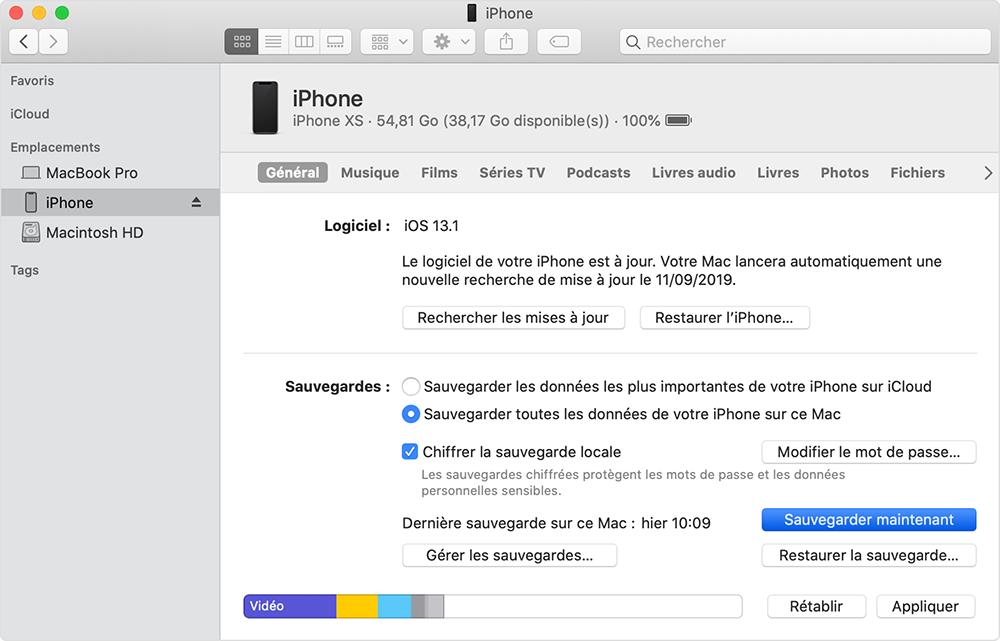 sauvegarder les données d'iPhone avant de revenir à une ancienne version iOS