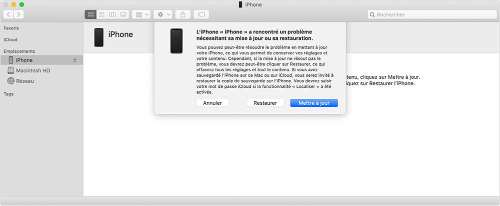 restaurer ou mettre à jour iPhone