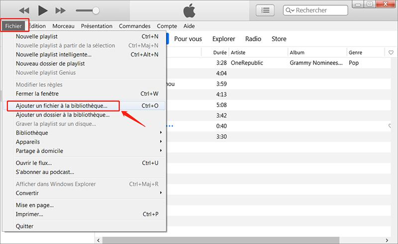 synchroniser de la musique avec iTunes