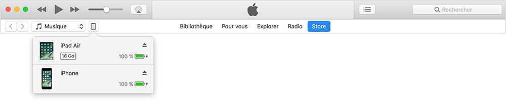 sélectionner l'appareil cible dans iTunes