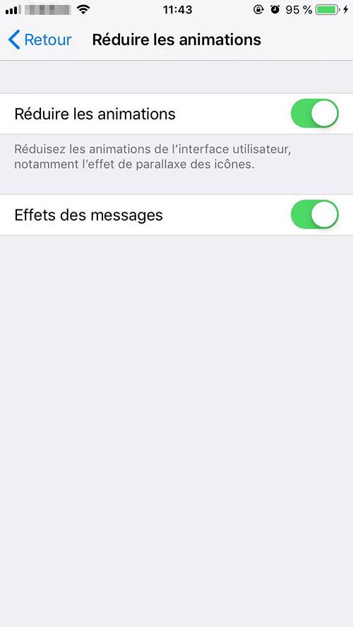 réduire les animations sur iPhone